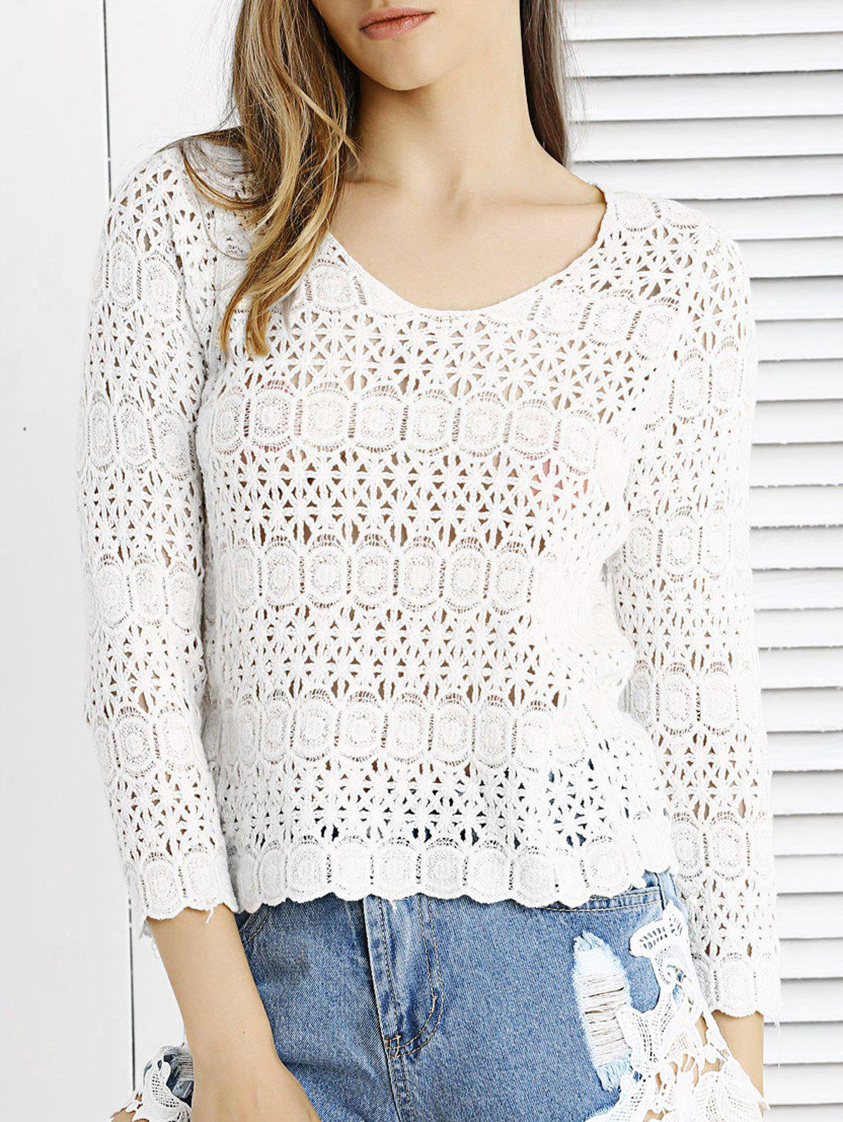 Cute Lace Crochet See-Through Pure Color Blouse - WHITE ONE SIZE