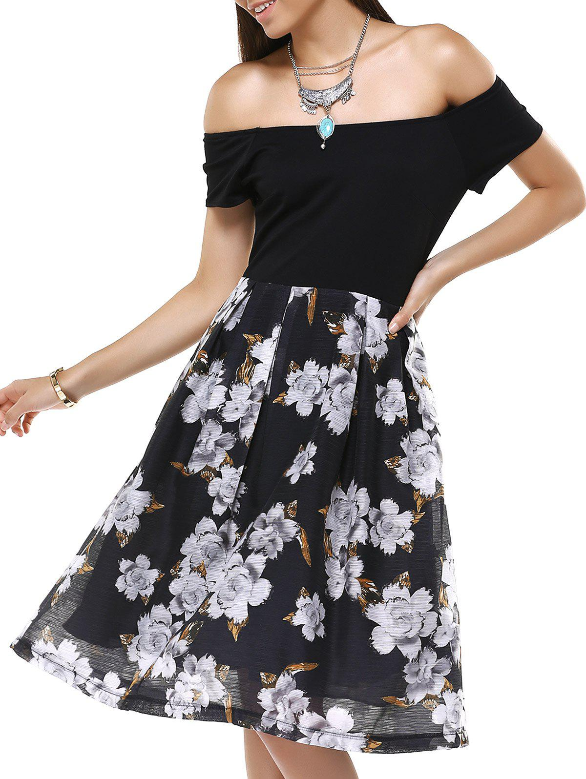 Vintage Off-The-Shoulder Floral Pleated Dress For Women - BLACK 5XL