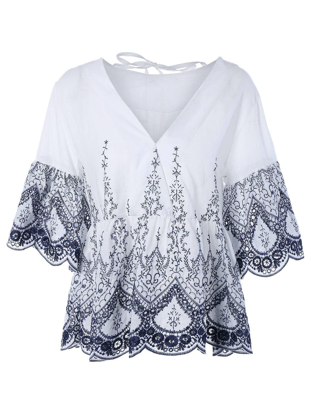 Ruffle V Neck Loose-Fitting Embroidered Blouse - WHITE ONE SIZE