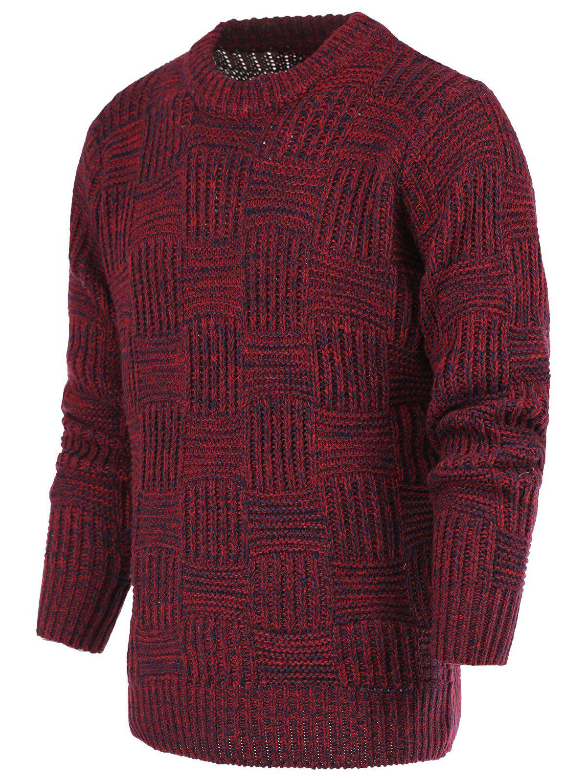 Ribbed Plaid Pattern Crew Neck Long Sleeve Men's Sweater - RED XL