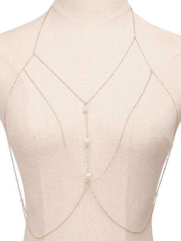 Faux Pearl Sandbeach Body Chain - GOLDEN