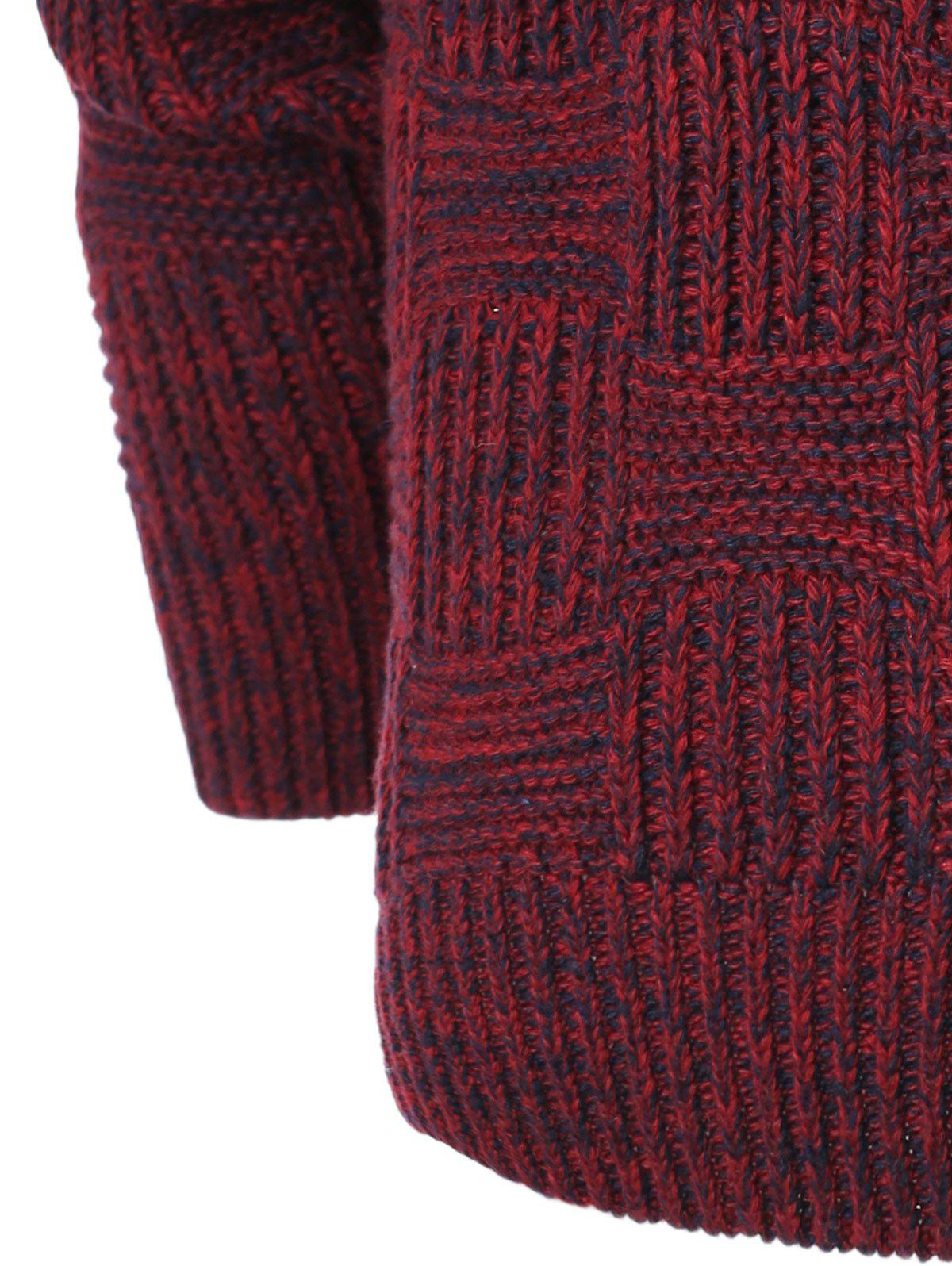 Ribbed Plaid Pattern Crew Neck Long Sleeve Men's Sweater - RED M