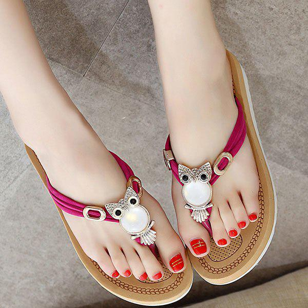 Sweet Flat Heel and Owl Pattern Design Womens SlippersShoes<br><br><br>Size: 38<br>Color: ROSE MADDER