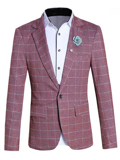 Classic Lapel Collar Long Sleeve Checked Blazer For Men - RED 5XL