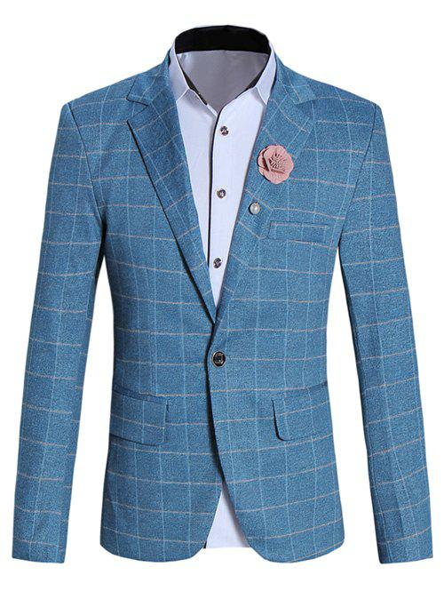 Classic Lapel Collar Long Sleeve Checked Blazer For Men - BLUE M
