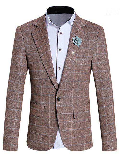 Classic Lapel Collar Long Sleeve Checked Blazer For Men - COFFEE L