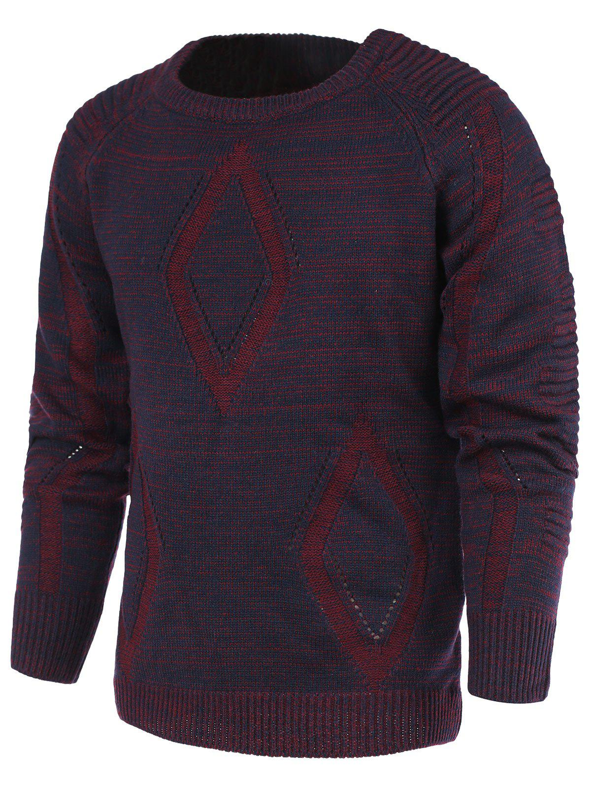 Rhombus Pattern Ribbed Crew Neck Raglan Sleeve Men's Sweater - XL PURPLE