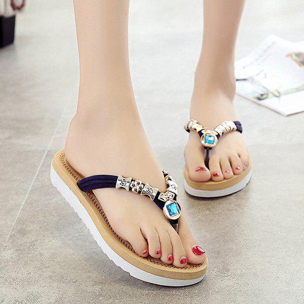 Leisure Suede and Artificial Stone Design Women's Slippers
