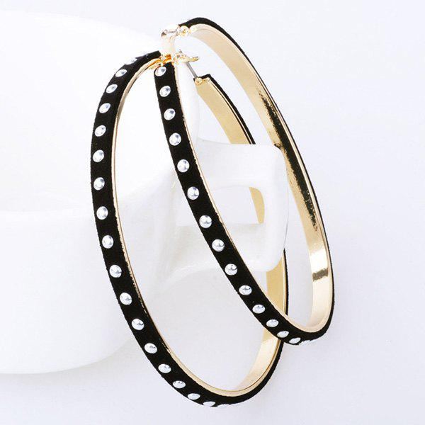 Pair of Studded Rivet Hoop Earrings - BLACK