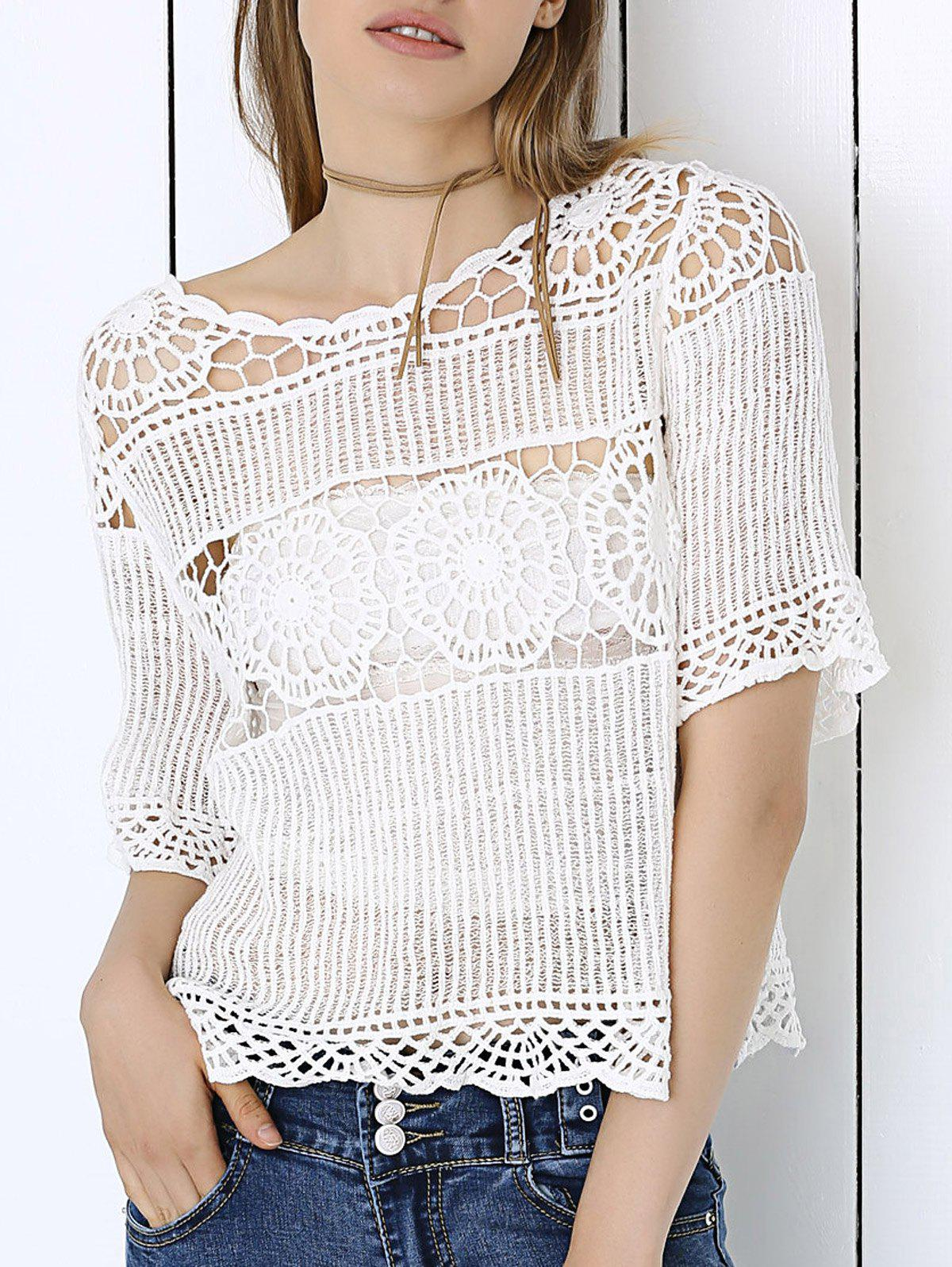 Sweet Lace Crochet See-Through Pure Color Blouse