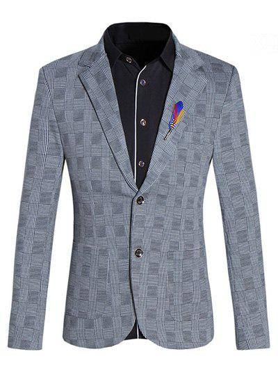 Lapel Collar Long Sleeves Checked Blazer For Men - GRAY 4XL
