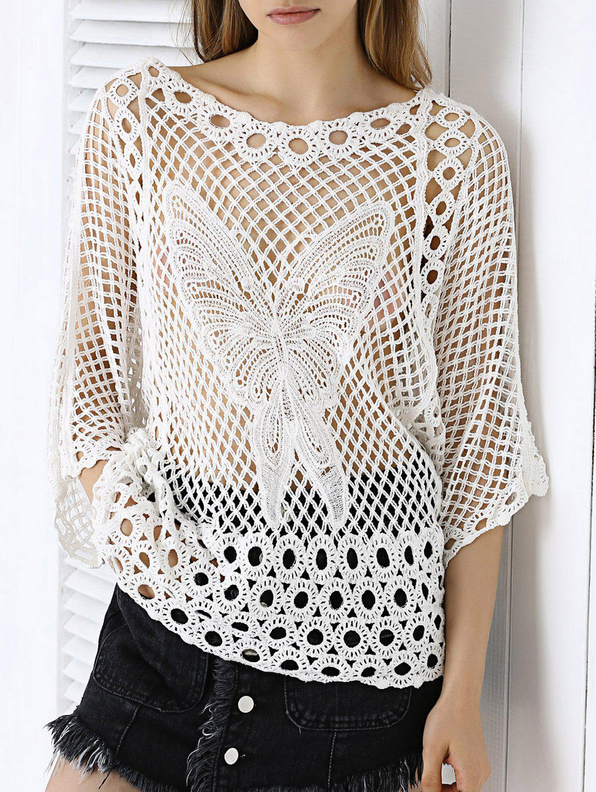 Sweet Butterfly Lace Crochet See-Through Pure Color Blouse - WHITE ONE SIZE