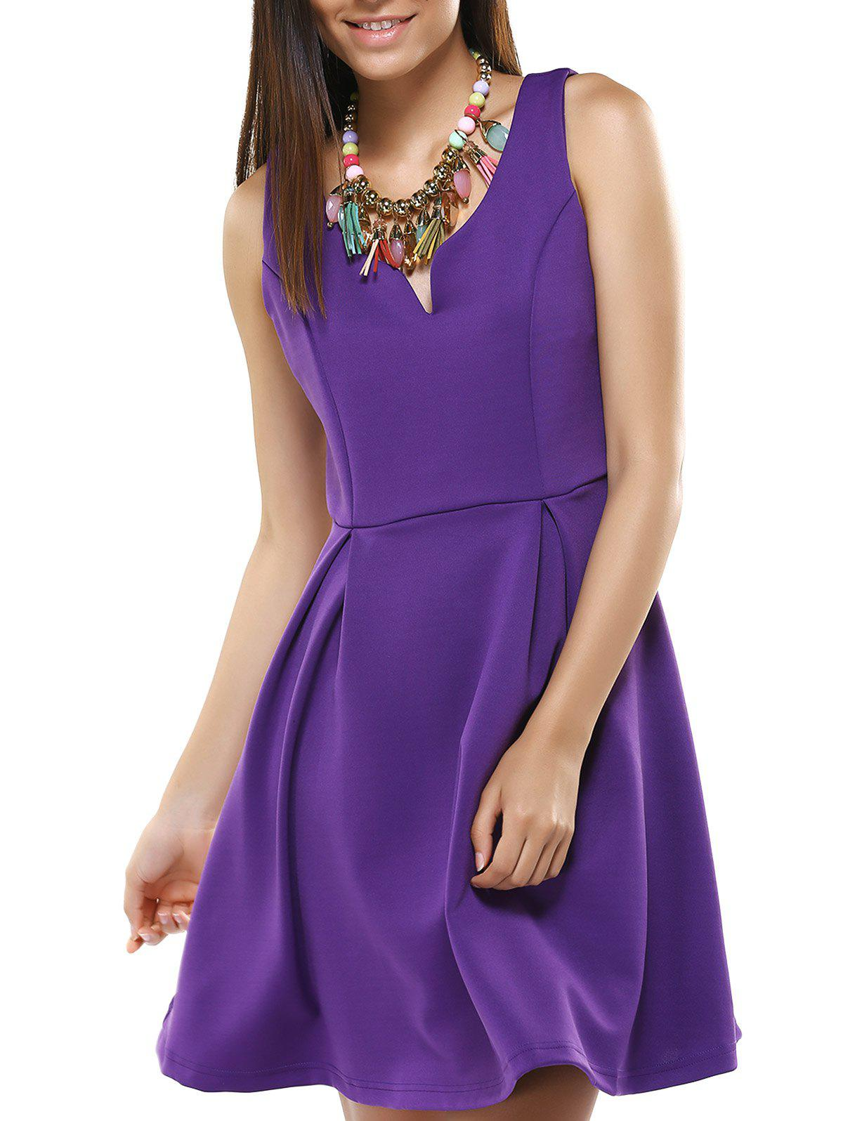 V Neck Fit and Flare Cocktail Dress - PURPLE 2XL