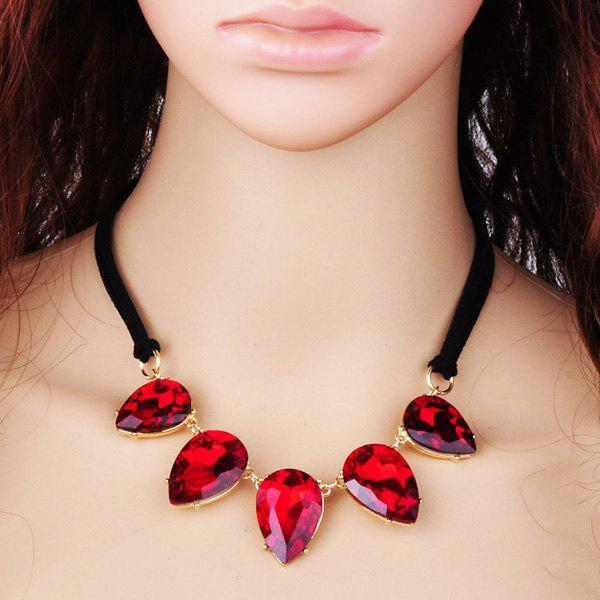 Teardrop Faux Crystal Pendant Necklace - RED