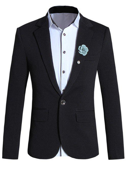 Brief Lapel Collar Long Sleeve Slim-Fit Blazer For Men - BLACK 5XL