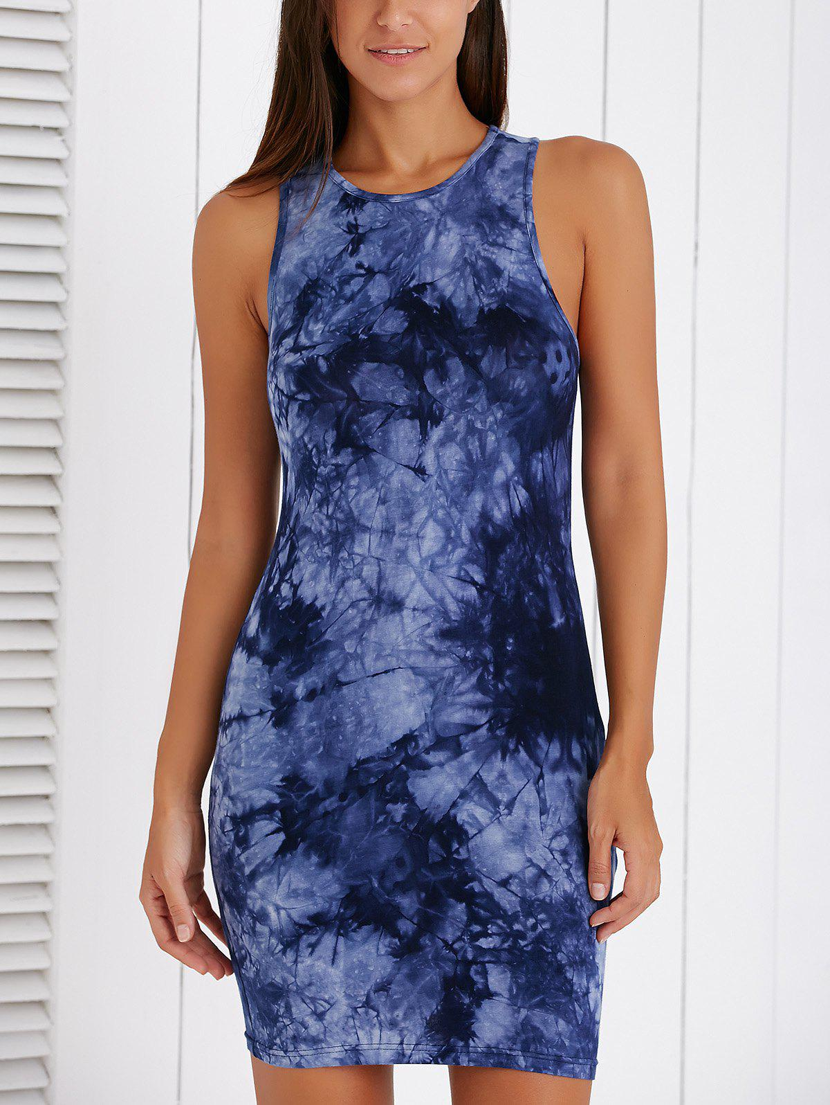 Fashionable Sleeveless Ink Painting Bodycon Dress - COLORMIX XL