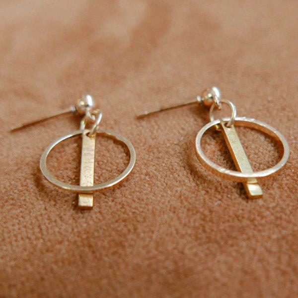 Pair of Round Bar Drop Earrings - GOLDEN
