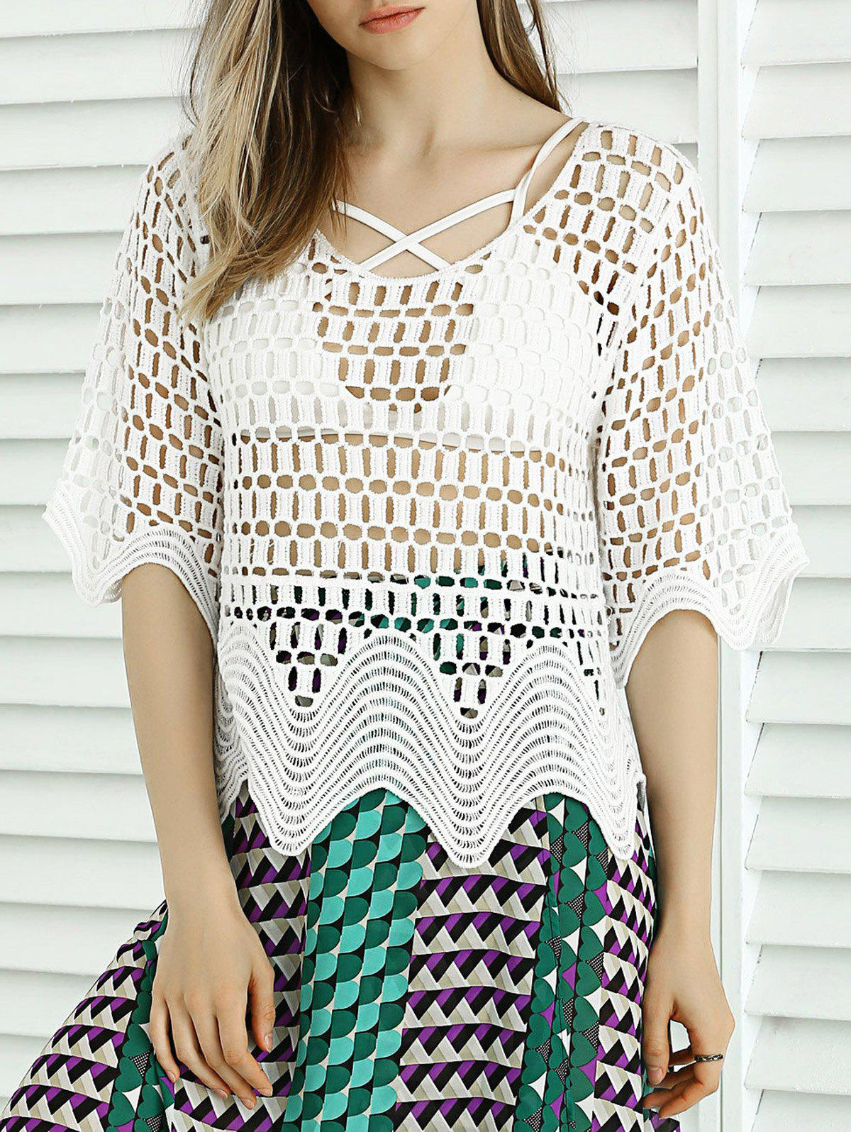 Sweet Wave Hem Lace Crochet See-Through Cover Up