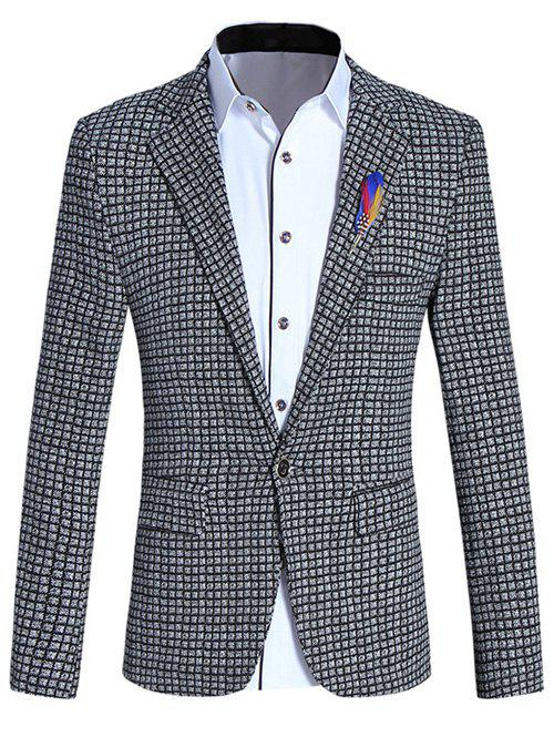 Lapel Collar Long Sleeve Slim-Fit Checked Blazer For Men - CHECKED 5XL