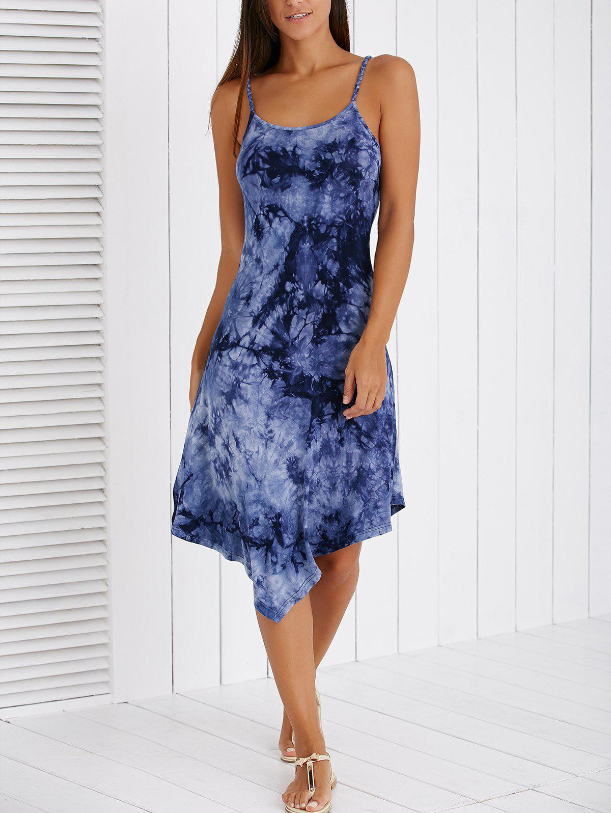 Fashionable Spaghetti Strap Ink Painting High Low Dress