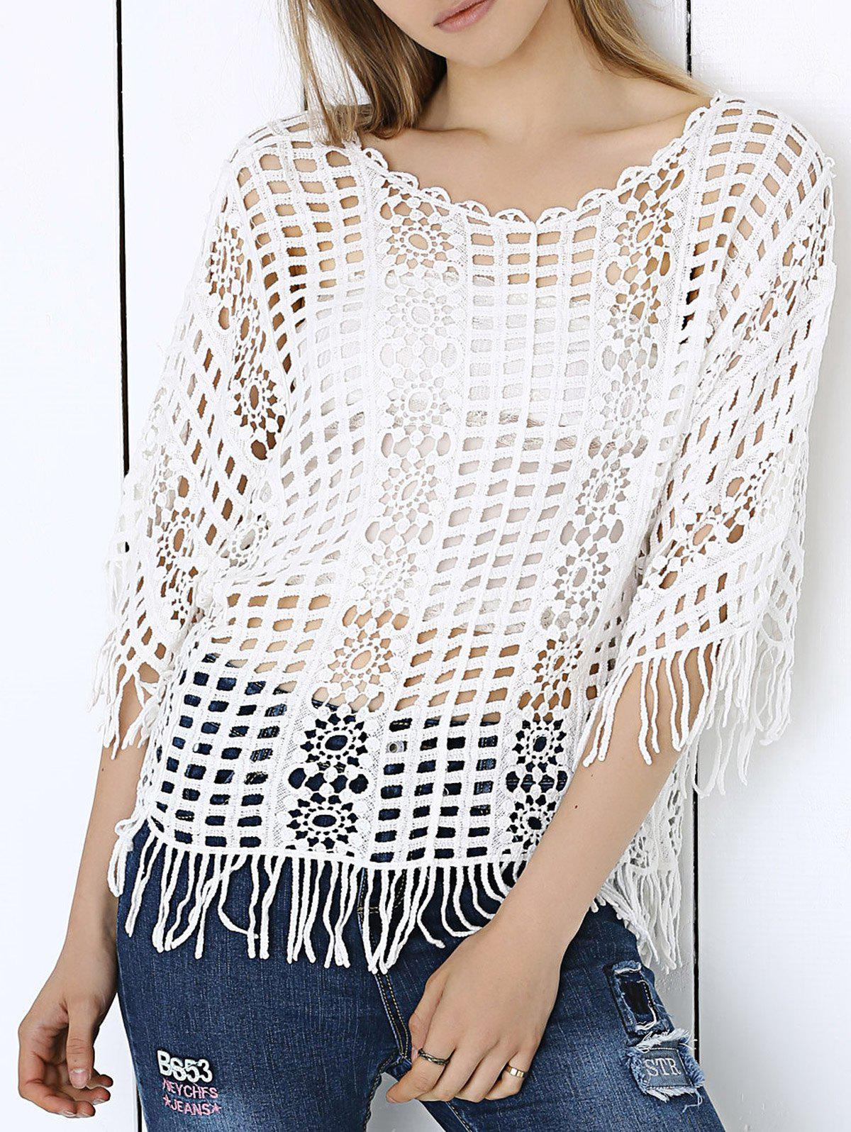 Sweet Plaid Lace Crochet See-Through Fringe Blouse - WHITE ONE SIZE