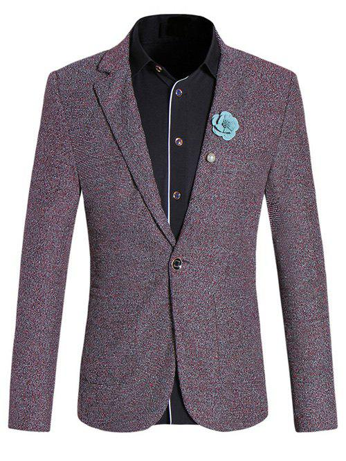 Chic Texture Design Lapel Collar Long Sleeves Red Melange Blazer For Men - DARK RED 5XL