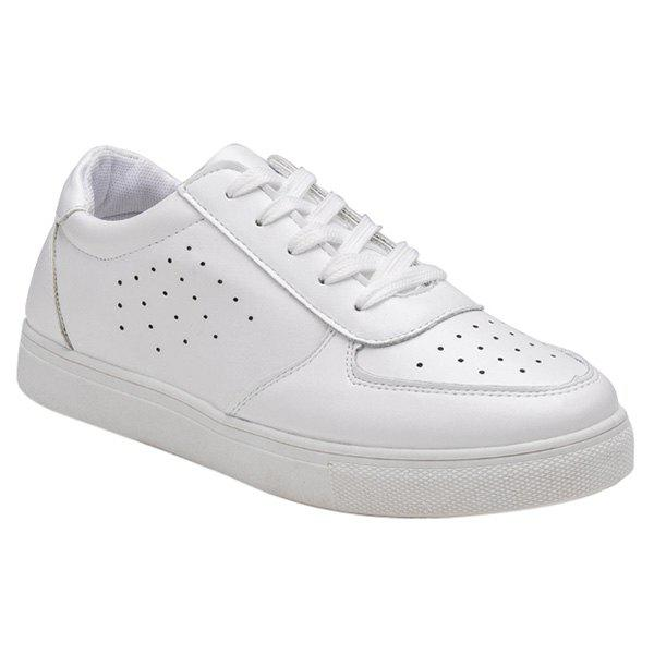 Casual Tie Up and Breathable Design Women's Athletic Shoes - WHITE 39