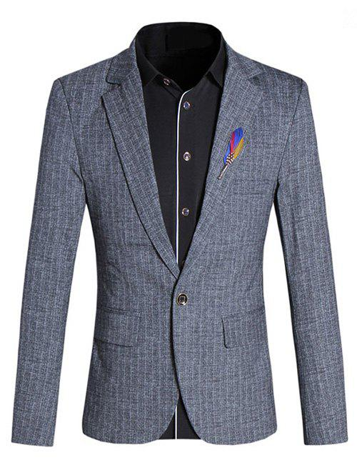 Chic Texture Design Lapel Collar Long Sleeves Gray Blazer For Men - GRAY 5XL