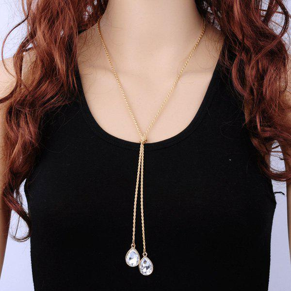 Teardrop Faux Crystal Knot Necklace - GOLDEN