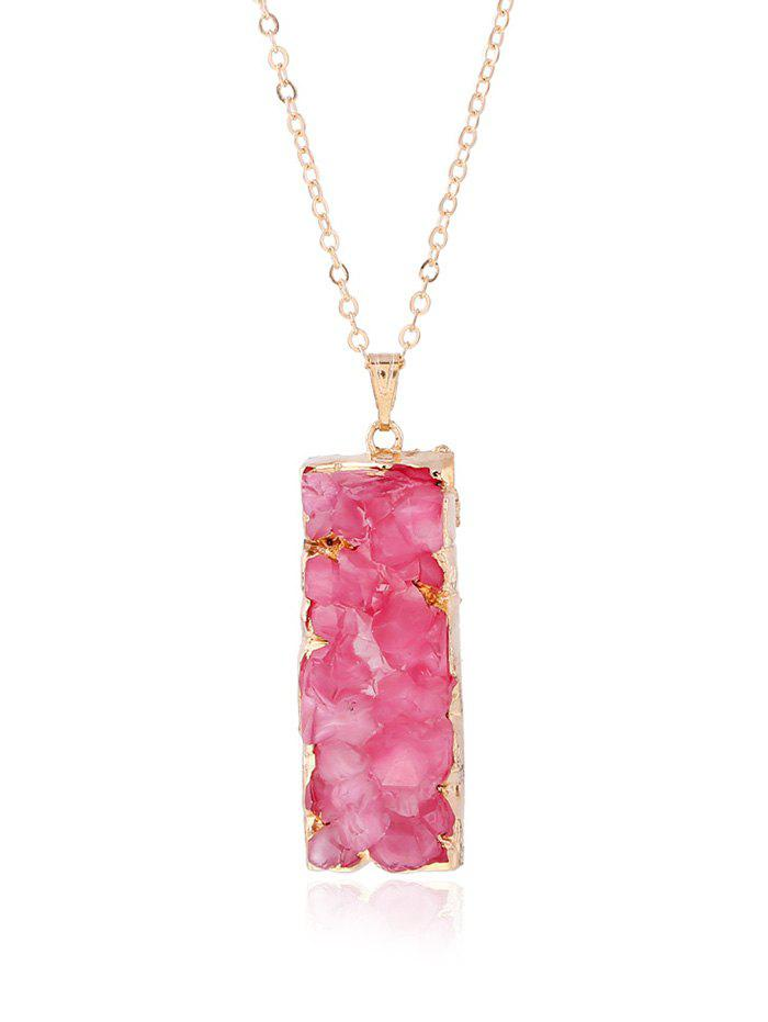 Rectangle Natural Stone Pendant Necklace - LIGHT RED