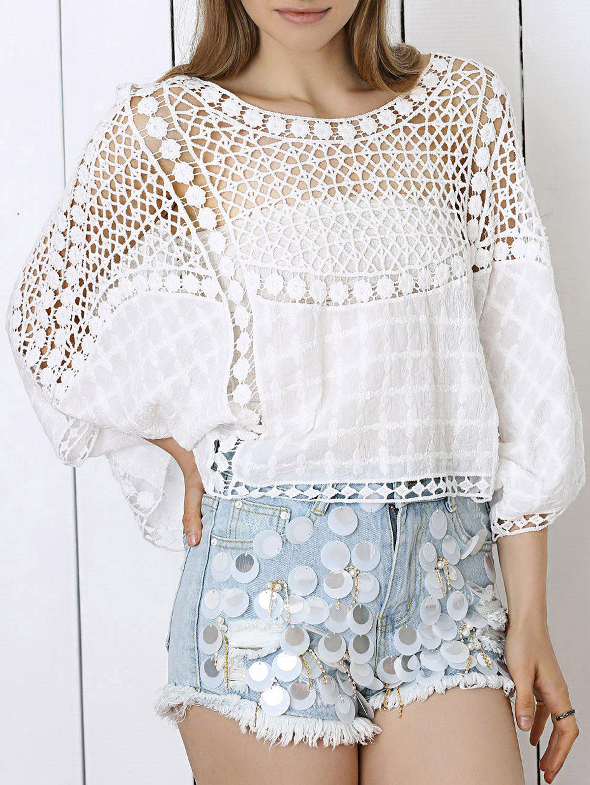 Sweet Lace Crochet See-Through Dolman Sleeve Blouse - WHITE ONE SIZE