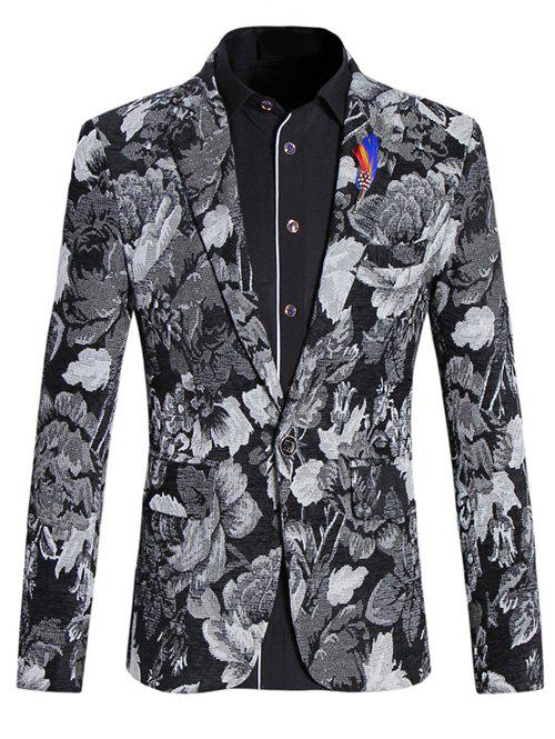 Vintage Flower Print Lapel Collar Long Sleeves Blazer For Men - COLORMIX M