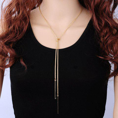 Bar Tassel Knot Necklace - GOLDEN
