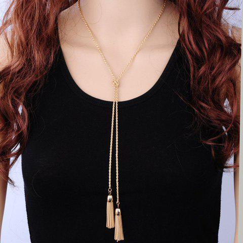Alloy Knot Tassel Necklace - GOLDEN