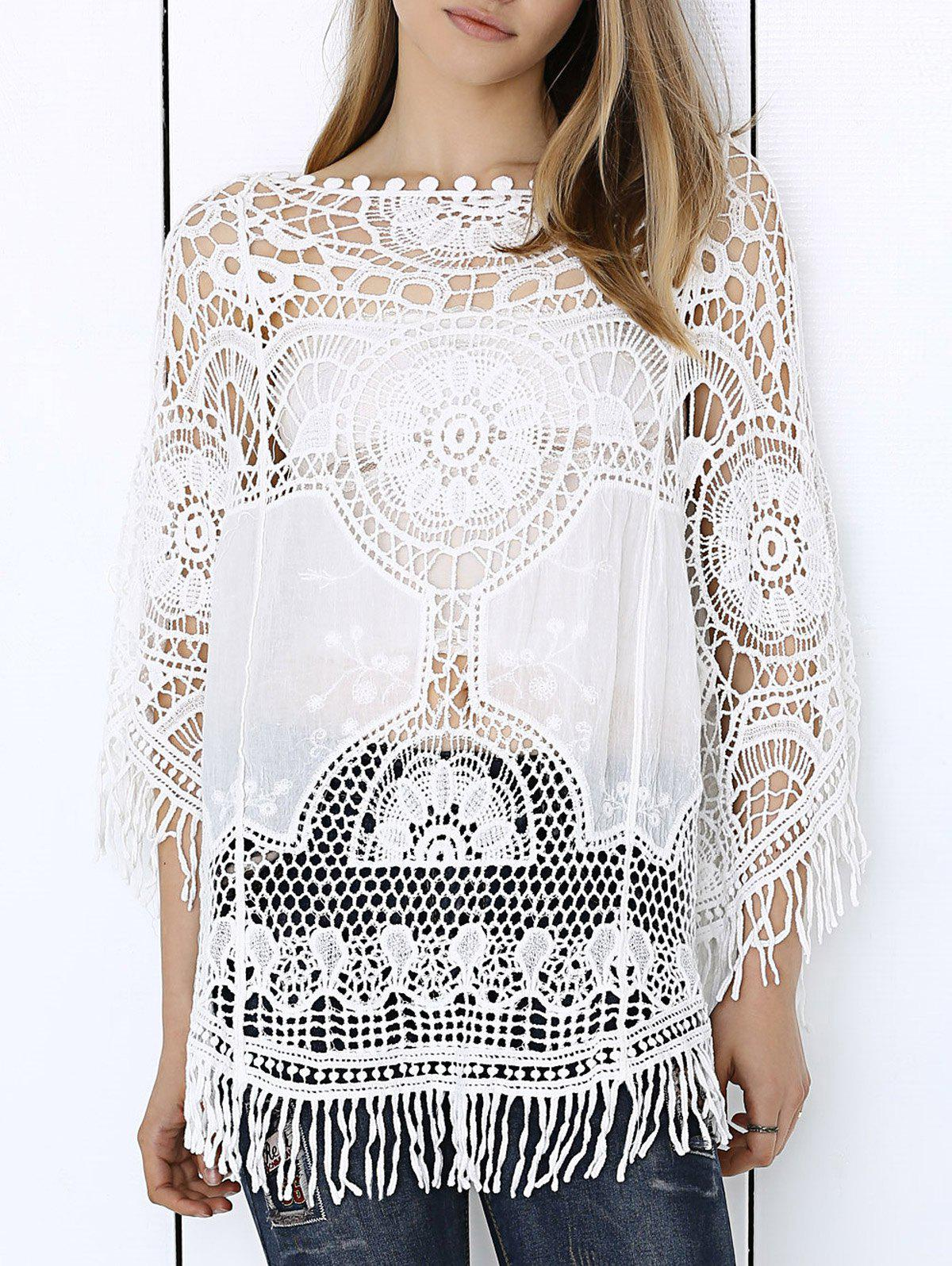 Sweet Anaglyph Crochet Fringe See-Through Cape Blouse - WHITE ONE SIZE