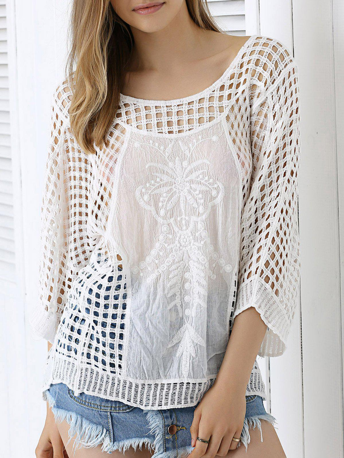 Chic Plaid Crochet See-Through Blouse - WHITE ONE SIZE