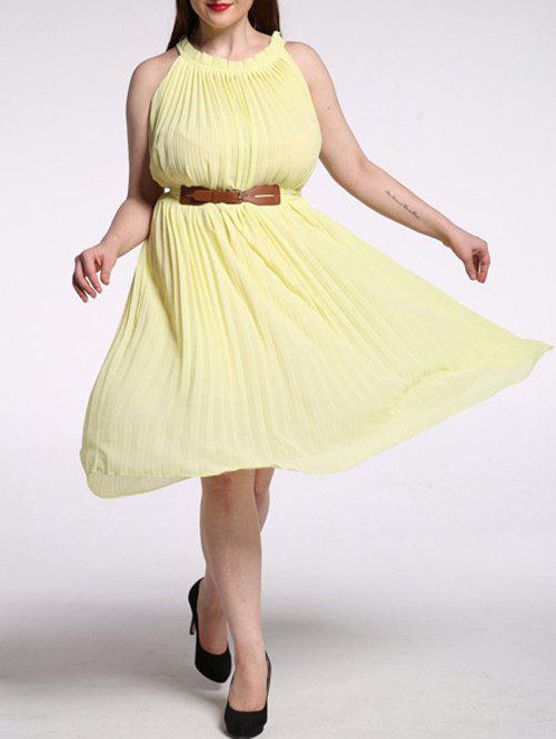Plus Size Pleated Solid Color Chiffon Dress - LIGHT YELLOW 7XL