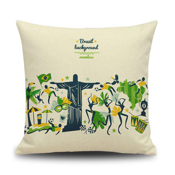 Chic Style Brazil Background Olympic Game Cartoon Pillow Case