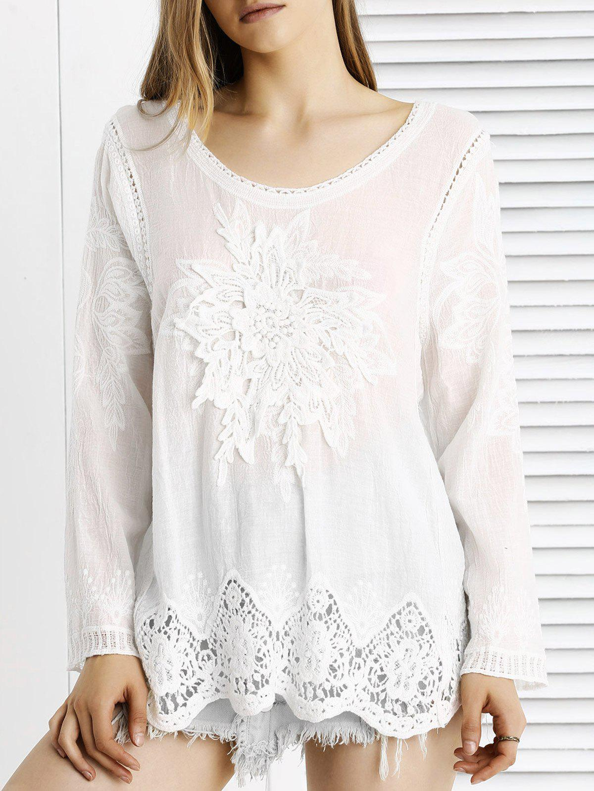 Chic Lace Crochet Trim See-Through Floral Spliced Blouse - WHITE ONE SIZE