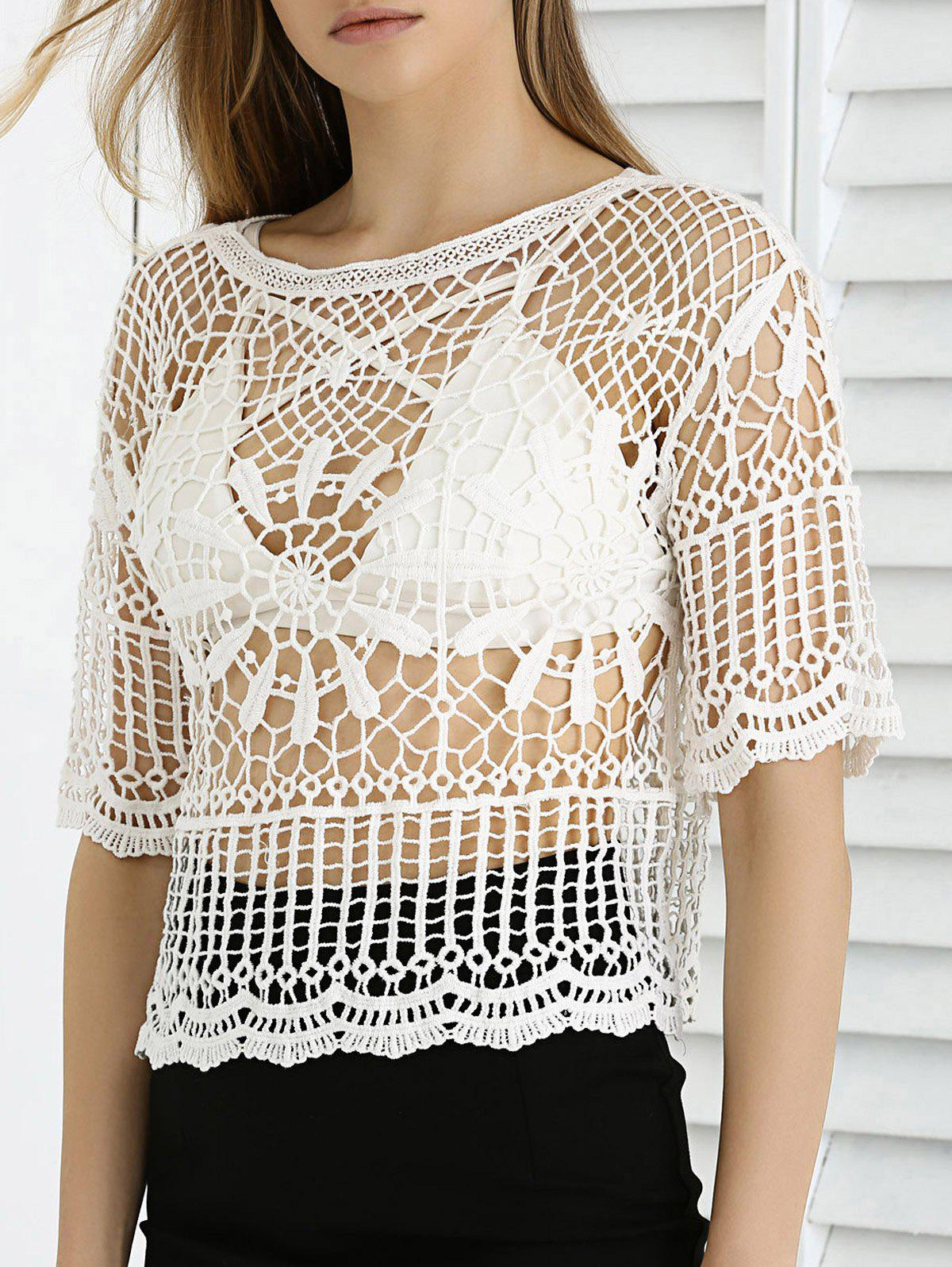 Sweet Lace Crochet See-Through Cropped Cover Up - ONE SIZE WHITE