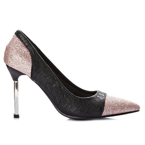 Chic Embossing and Sequined Cloth Design Women's Pumps - PINK 43