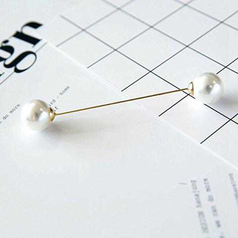 Double End Fake Pearl Brooch - WHITE
