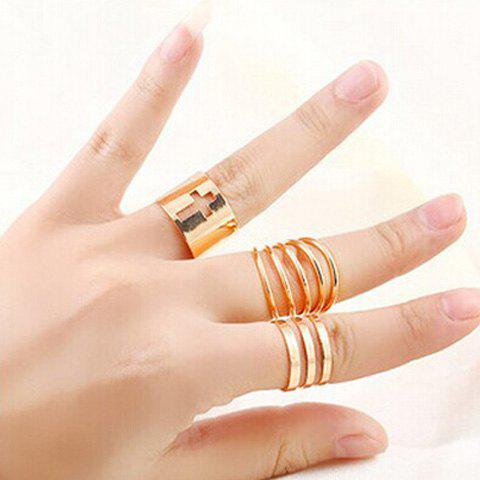 Delicate Gold Plated Spiral Cut Out Cross Ring Set For Women - GOLDEN