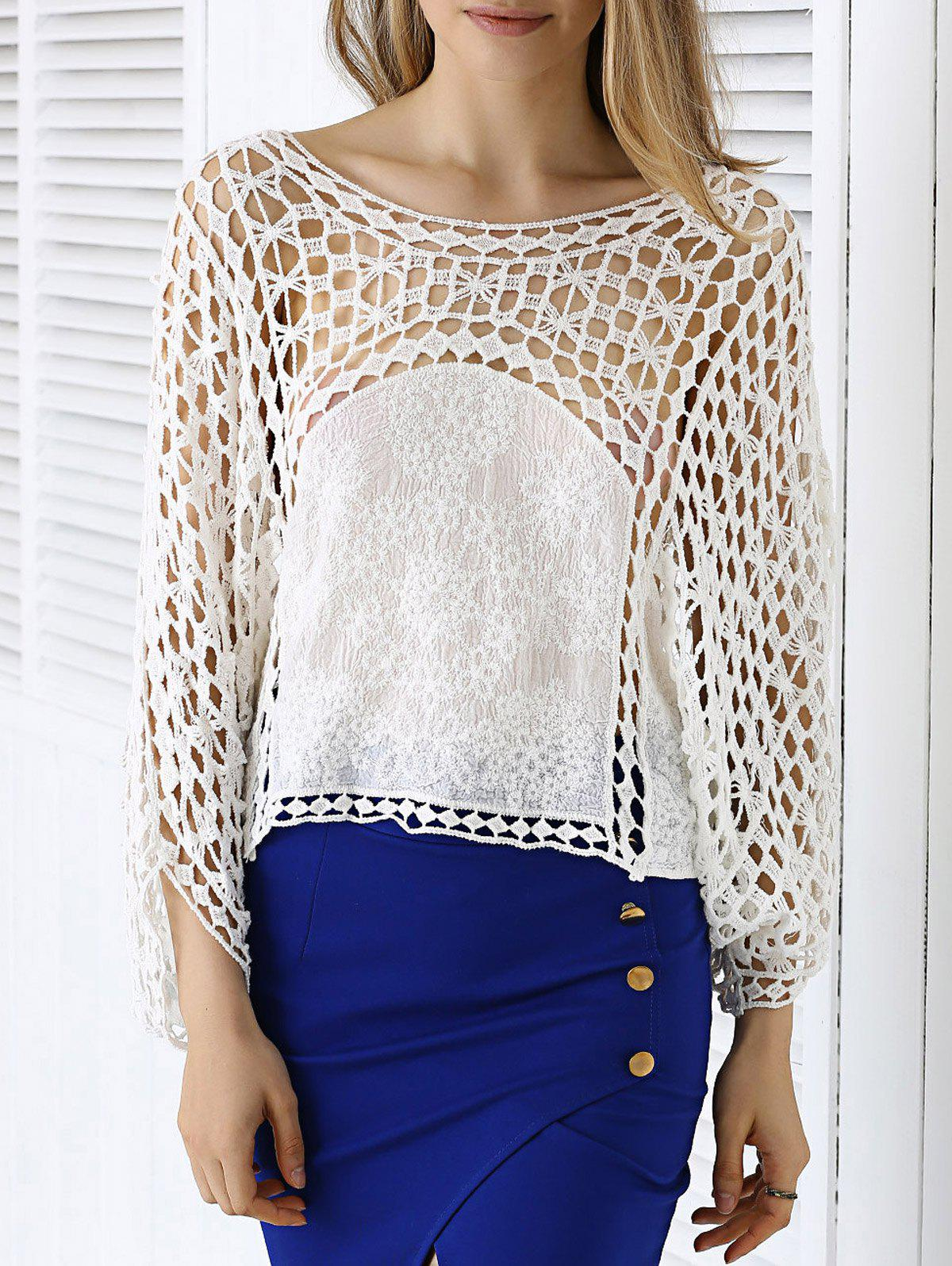 Bohemian Lace Crochet See-Through Dolman Sleeve Blouse - WHITE ONE SIZE