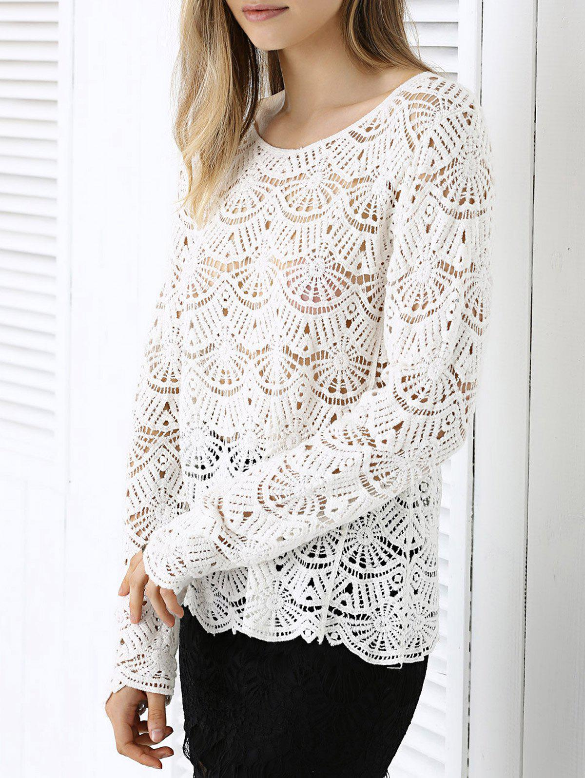 Chic Fanshaped Lace Crochet Trim See-Through Spliced Blouse - ONE SIZE WHITE