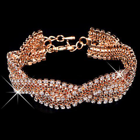 Gorgeous Twisted Rhinestone Chain Bracelet For Women - GOLDEN