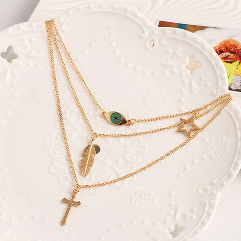 Eye Cross Feather Star Layered Pendant Necklace - GOLDEN