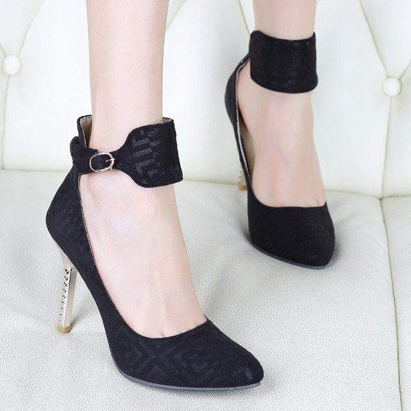 Chic Suede and Ankle Strap Design  Women's Pumps - BLACK 38