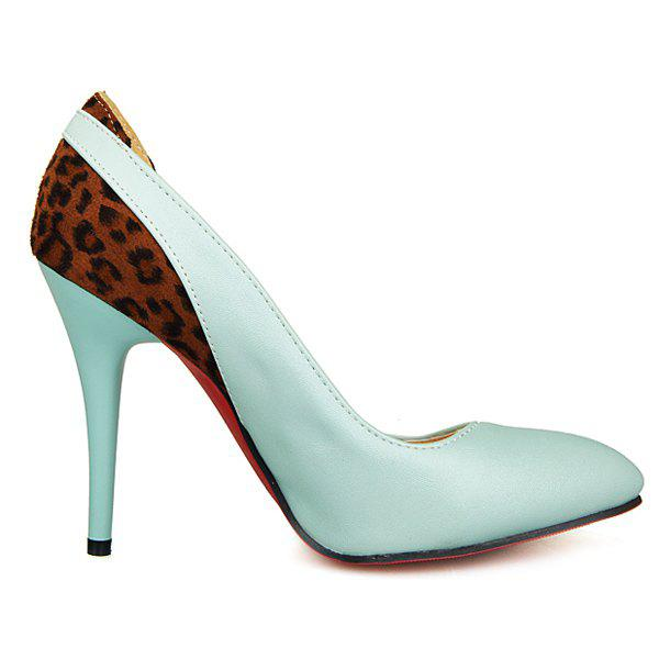 Fashionable Color Block and Leopard Printed Design Women's Pumps - LIGHT BLUE 43