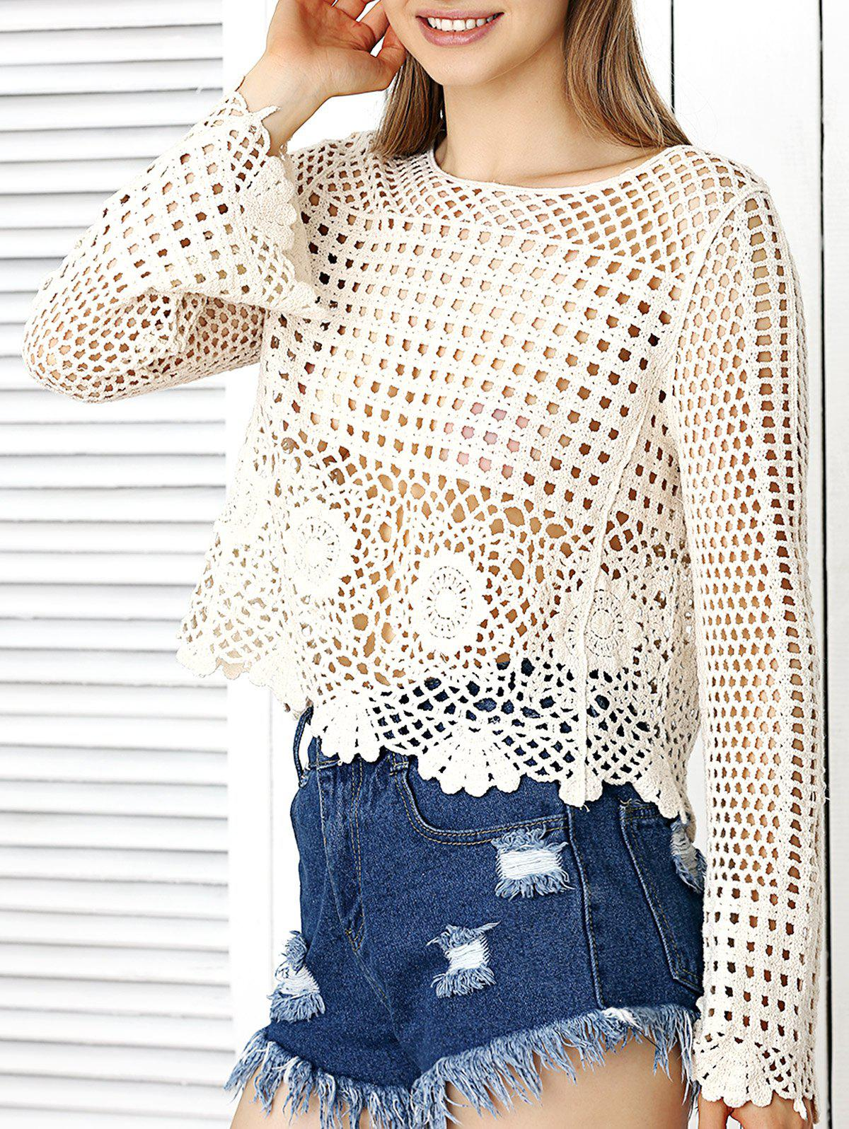 Crochet de Bell Sleeve Floral Crop Top - Blanc Cassé ONE SIZE(FIT SIZE XS TO M)
